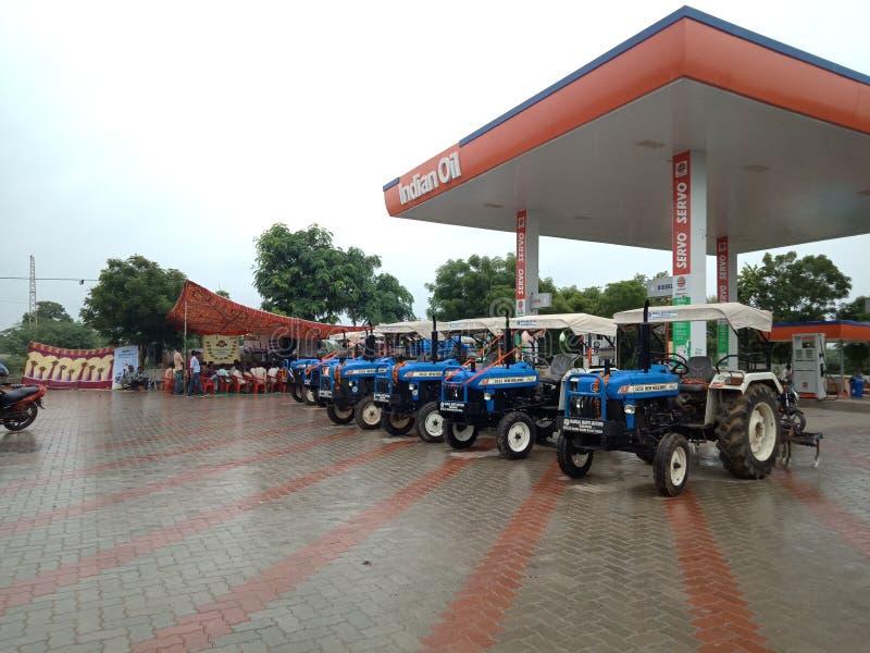 Den Newholland traktoren visade royaltyfria bilder