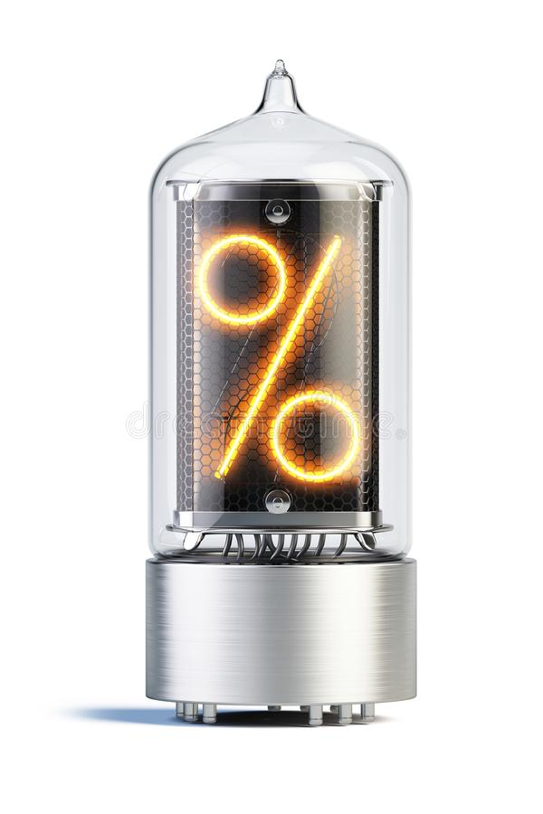 Den Nixie rörindikatorn som isoleras på vitt - ställ in av decimal- siffror royaltyfri illustrationer