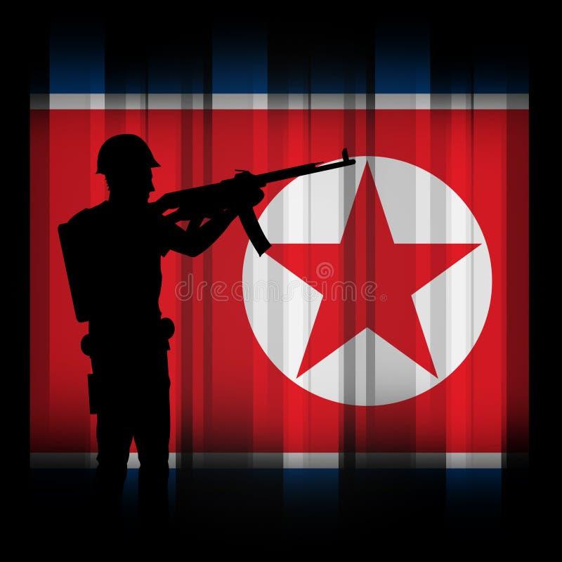Den Nordkorea armémilitären tjäna som soldat illustrationen 3d vektor illustrationer
