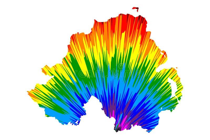 Den nordliga - Irland - översikten är den planlagda abstrakta färgrika modellen för regnbågen royaltyfri illustrationer