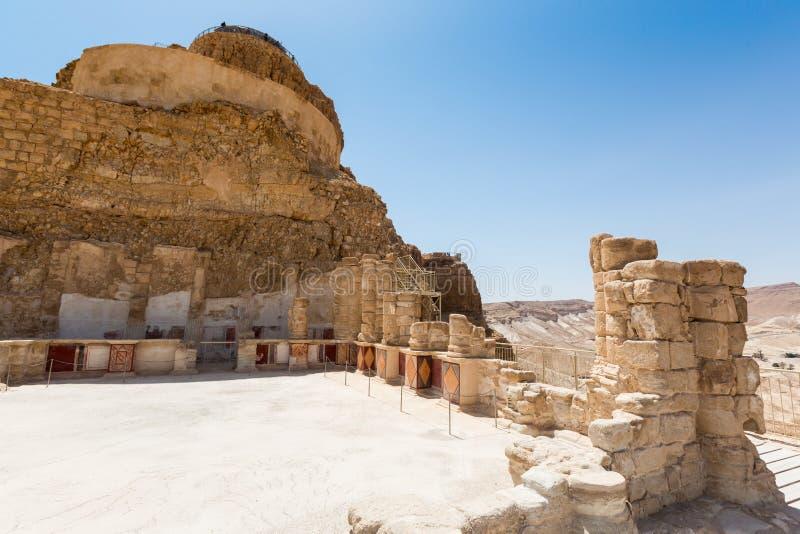 Den nordliga slotten i Masada royaltyfria bilder