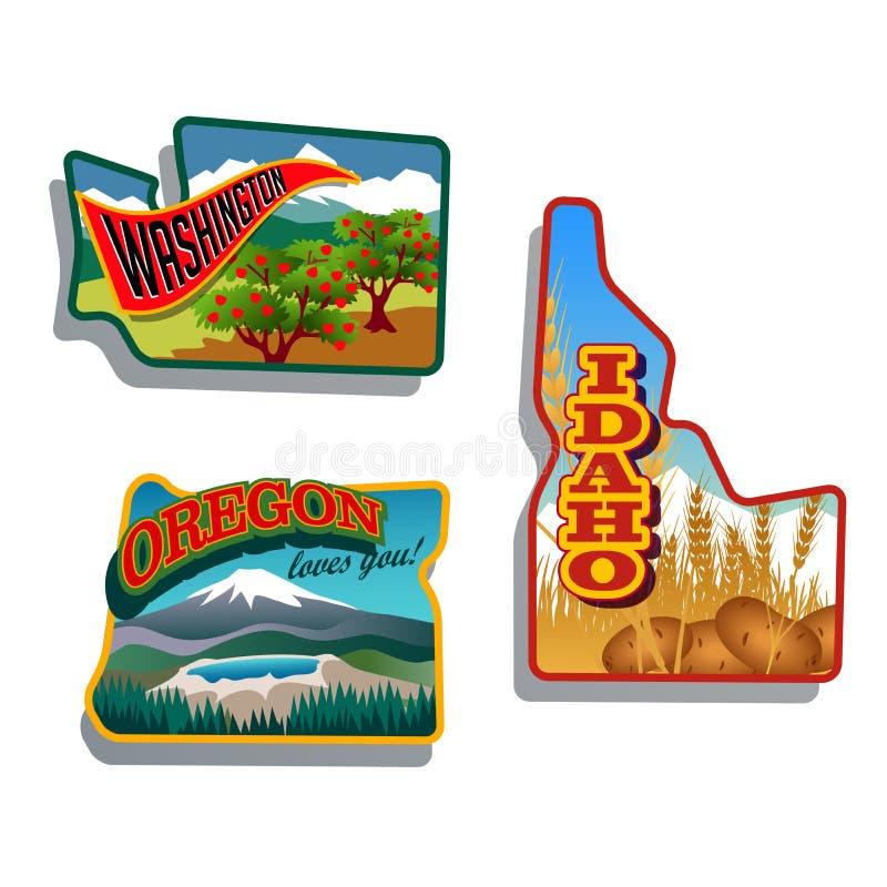 Den nordvästliga Förenta staterna Idaho, Oregon, Washington den retro klistermärkelappen planlägger vektor illustrationer