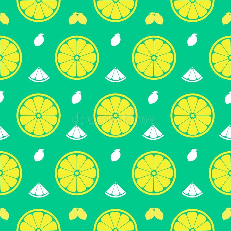 Den nya citronen, apelsin bär frukt den sömlösa modellbakgrundsvektorn fo royaltyfri illustrationer