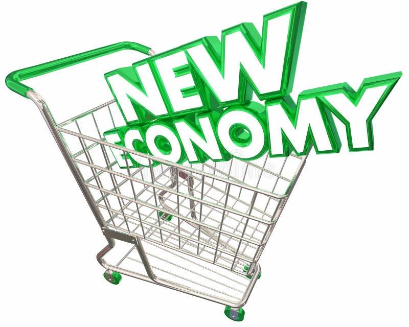 Den nya ekonomishoppingvagnen Digital som säljer service, baserade 3d Illus stock illustrationer