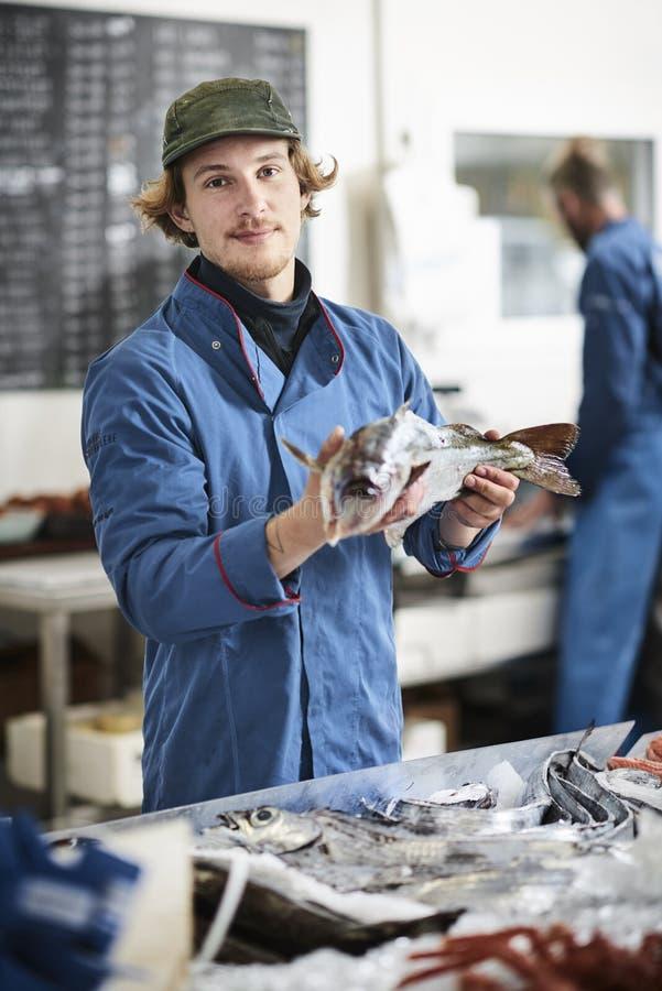 Den nya fisken och musslor presentated vid fishdealeren fotografering för bildbyråer