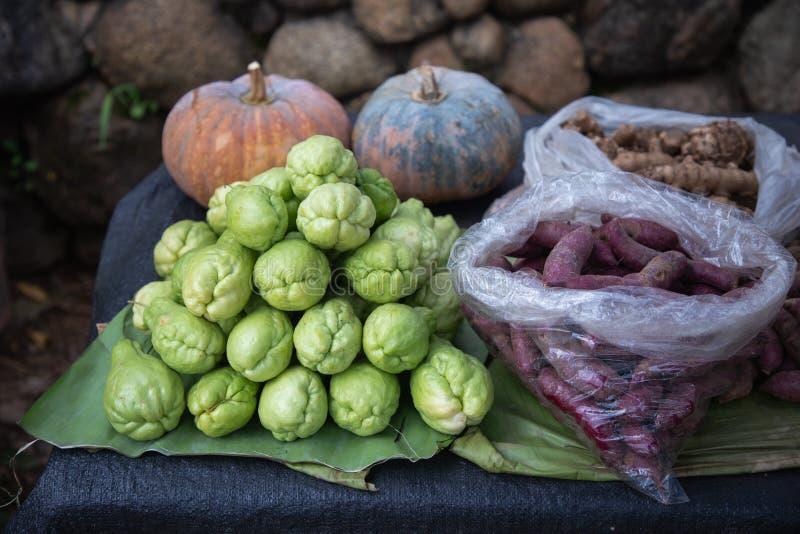 Den nya gröna chayoten, purpurfärgade sötpotatisar, pumpa och ingefäran på bananbladet på stannar grönsakmarknaden royaltyfri foto