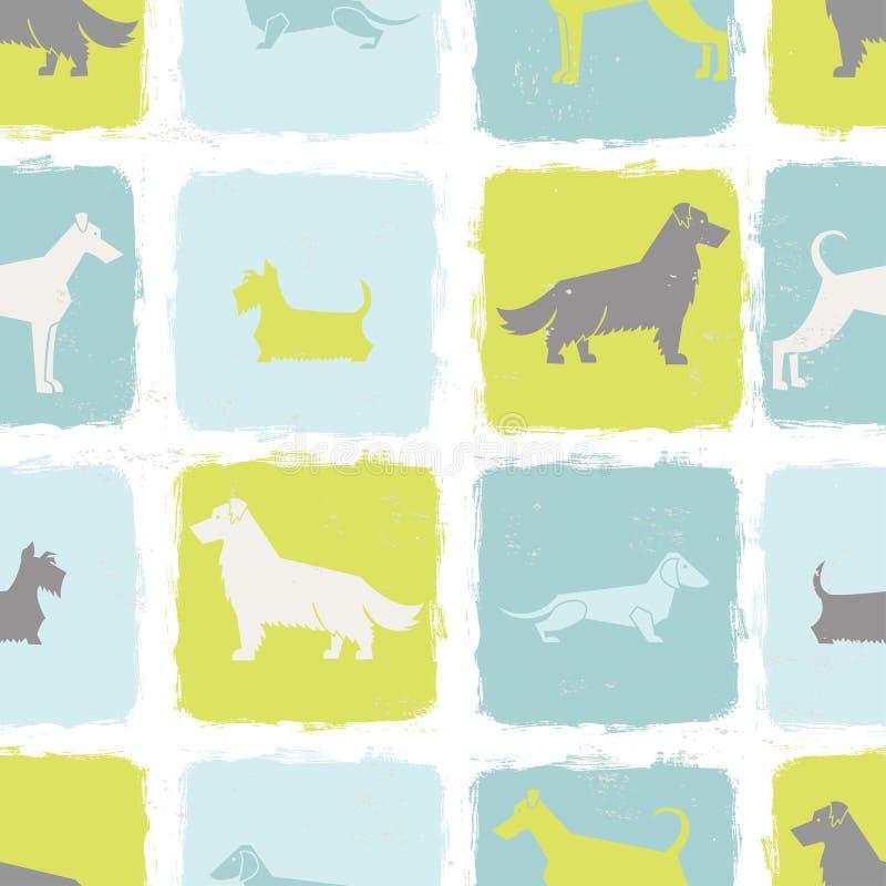 Den nya hunden föder upp den sömlösa modellen för konturer stock illustrationer