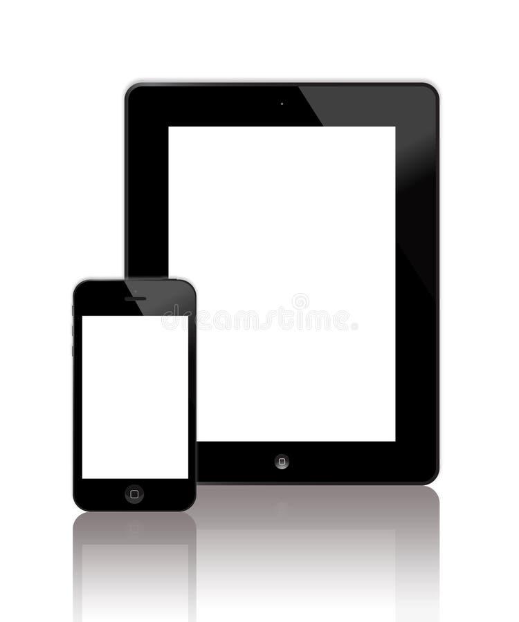 Den nya iPaden och iPhonen 5 stock illustrationer