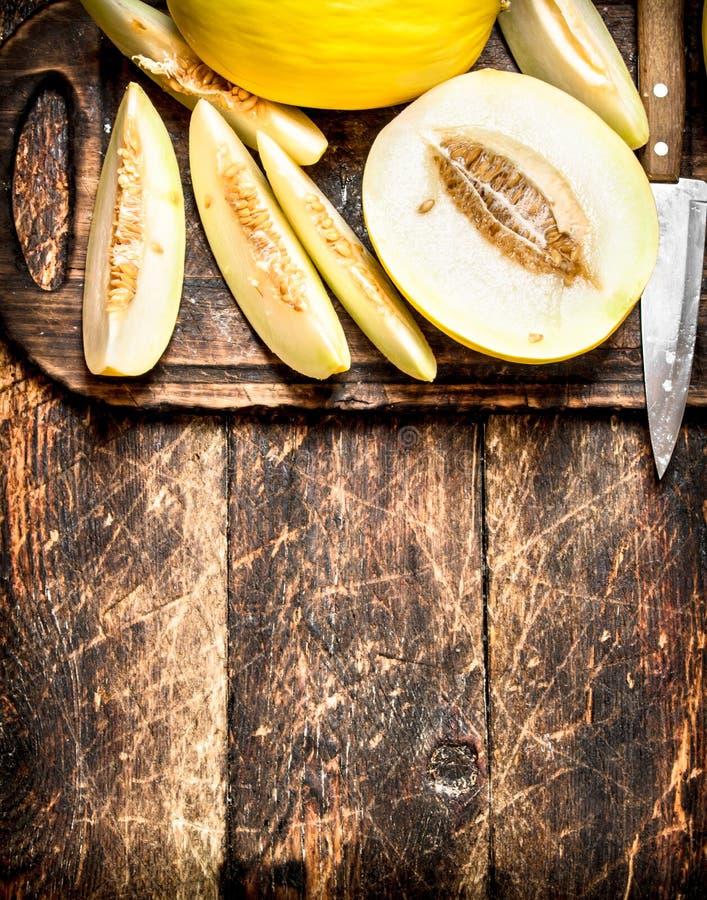 den nya melonen skivade arkivbild