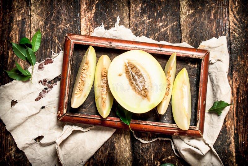 den nya melonen skivade royaltyfri foto