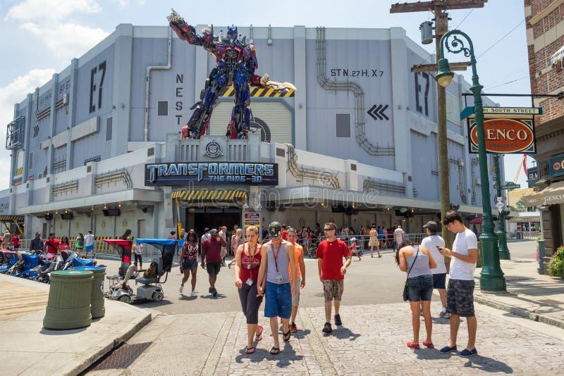 Den nya ritten för transformatorer 3D på universella studior Florida arkivbilder