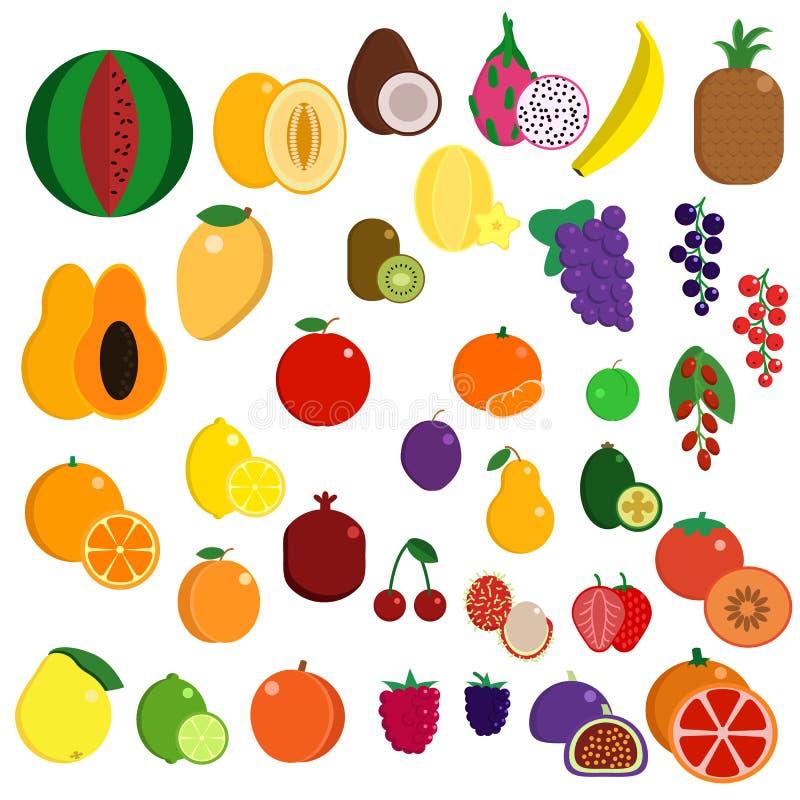Den nya saftiga exotiska sötsaken bär frukt beståndsdelsamlingen stock illustrationer