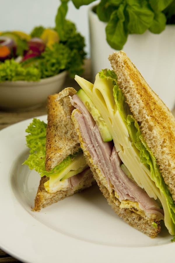 Den nya smakliga klubbasmörgåsen med ost och skinka bordlägger på arkivbild