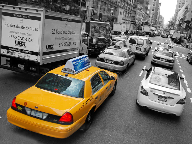 den nya staden taxar york royaltyfri fotografi