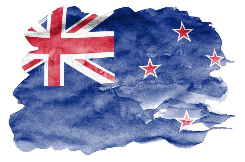 Den nyazeeländska flaggan visas i vätskevattenfärgstil som isoleras på vit bakgrund arkivbild