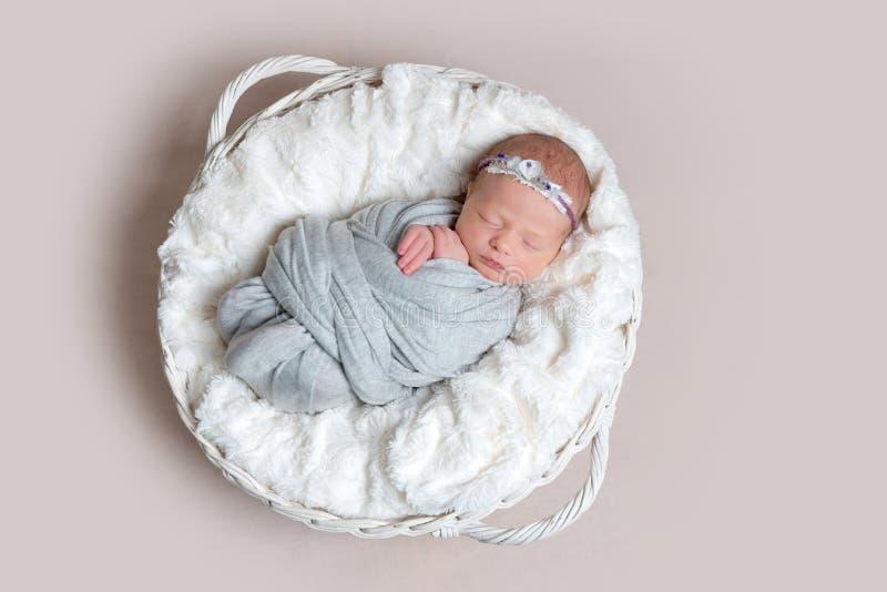Den nyfödda flickan sover på den vita filten, bästa sikt royaltyfri foto