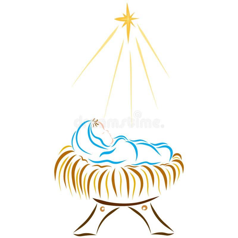 Den nyfödda Lord Jesus, räddning för gud` s, jul vektor illustrationer