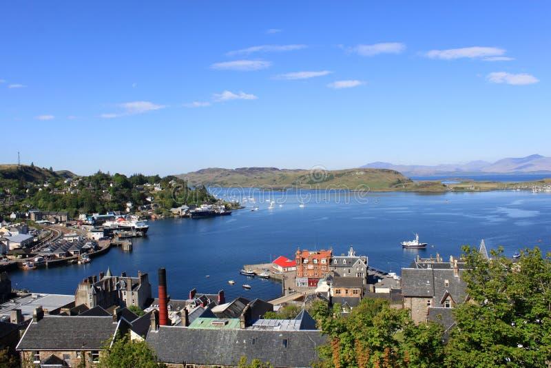 Den Oban fjärden, den Kerrera ön och funderar, Skottland royaltyfri fotografi