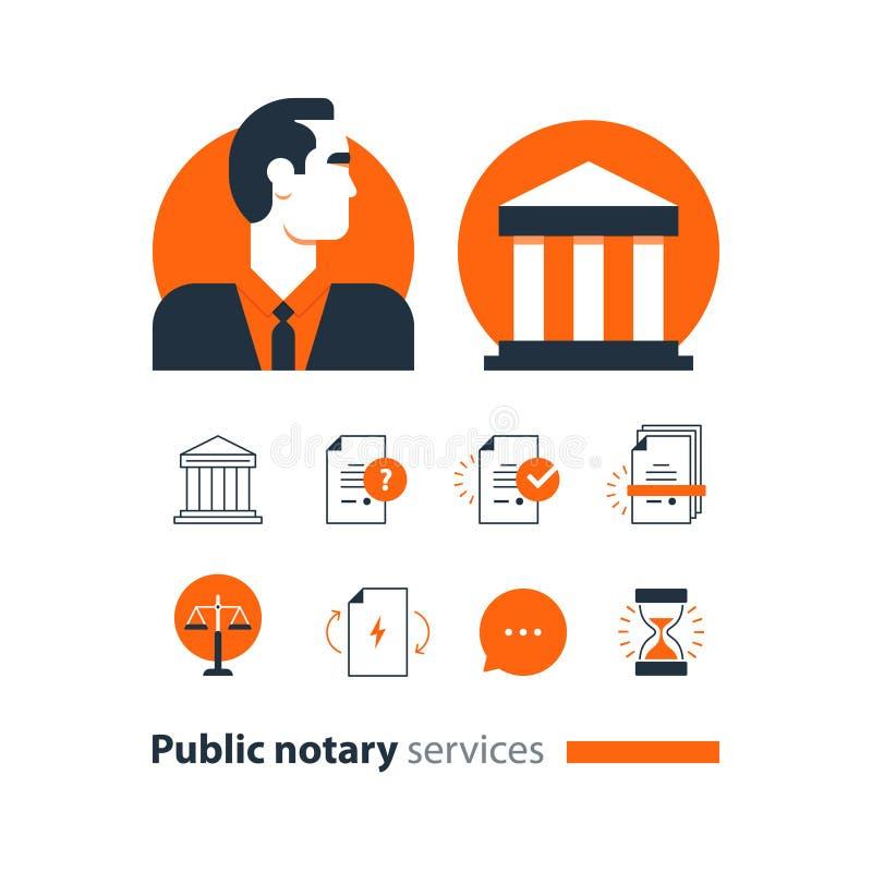 Den offentliga notarius publicu servar symboler ställde in, advokatbyråmannen som försvar konsulterar dokumentet intygar vektor illustrationer