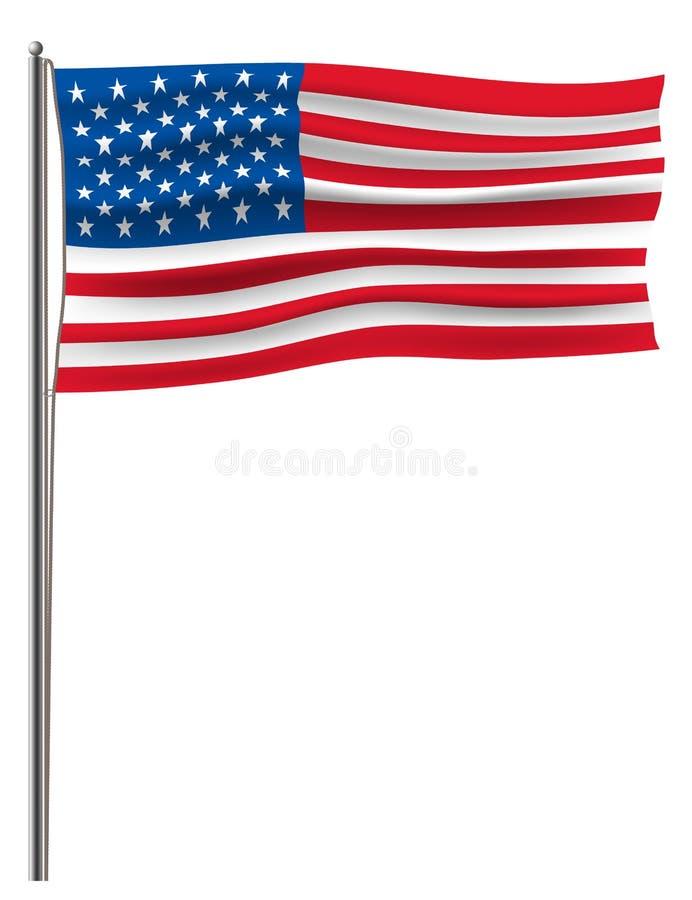 Den officiella vektorUSA flaggan förband till en metallflaggstång vid ett rep Isolerat på den vita Amerika för vinkande vektor fö royaltyfri illustrationer