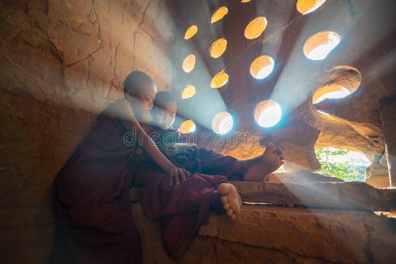 Den oidentifierade buddismneofyt ber i den Buddihist templet royaltyfri bild