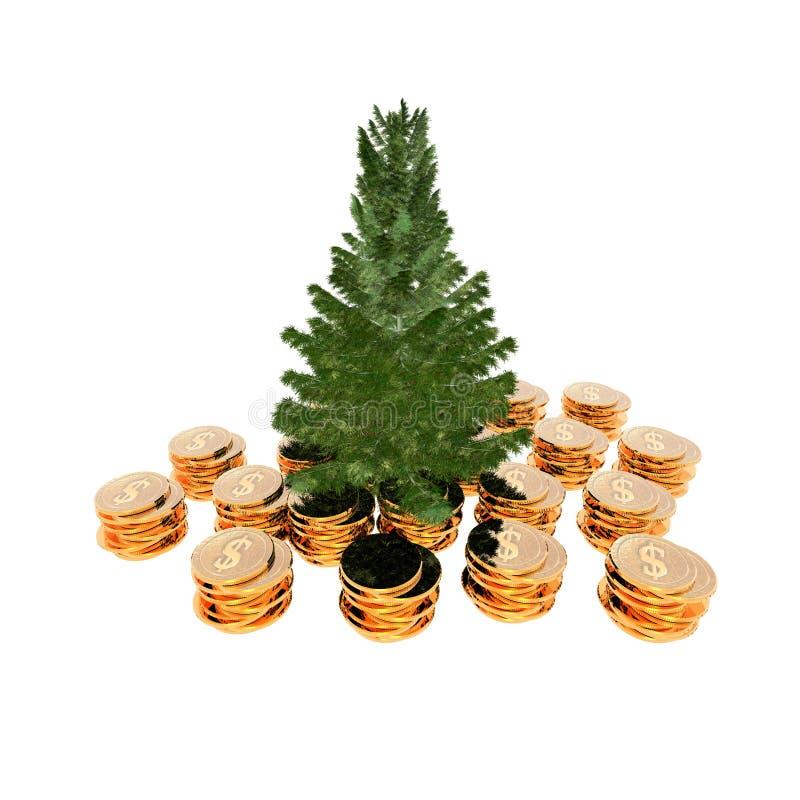 den oisolerade julen ready treen stock illustrationer