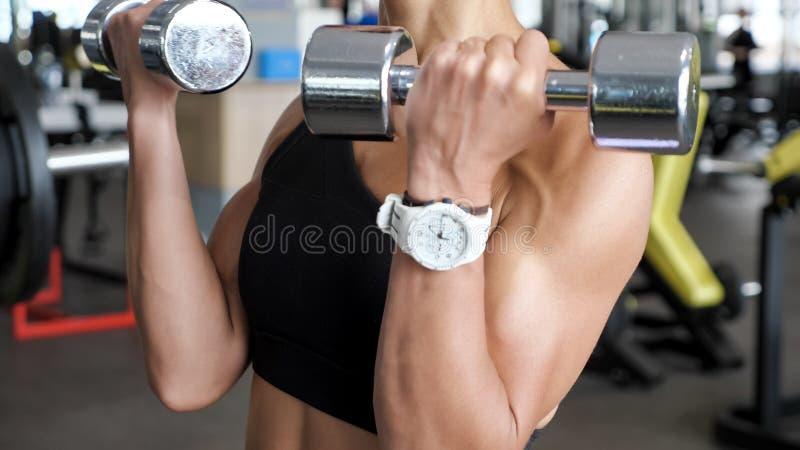 Den okända idrotts- kvinnan gör uppsättningen av reps övar för biceps med hantlar i händer i idrottshall arkivbilder