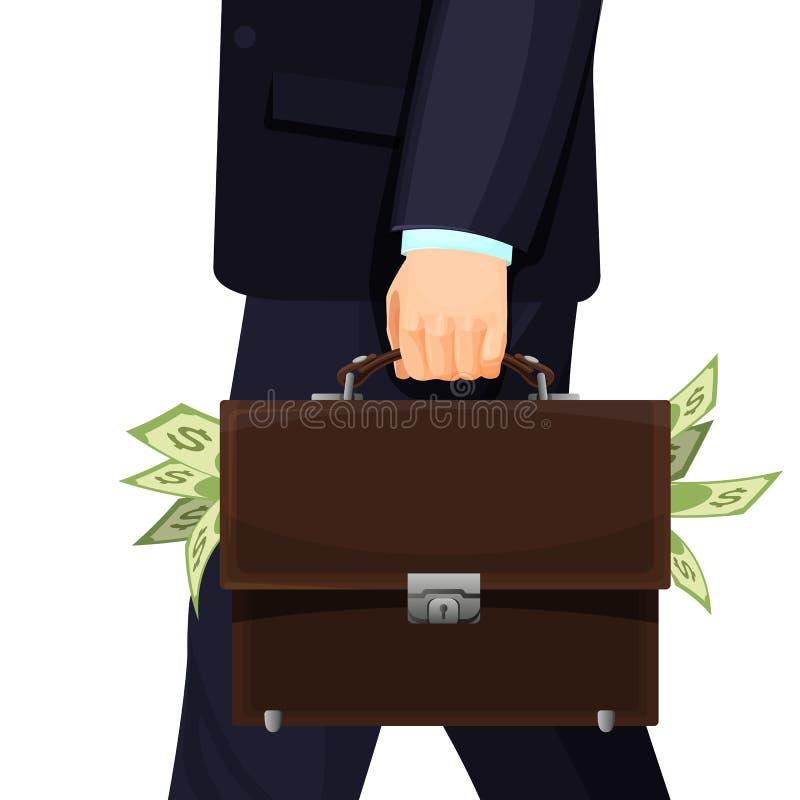 Den okända mannen i dräkt som stjäler den budget- portföljen, fyllde med pengar royaltyfri illustrationer