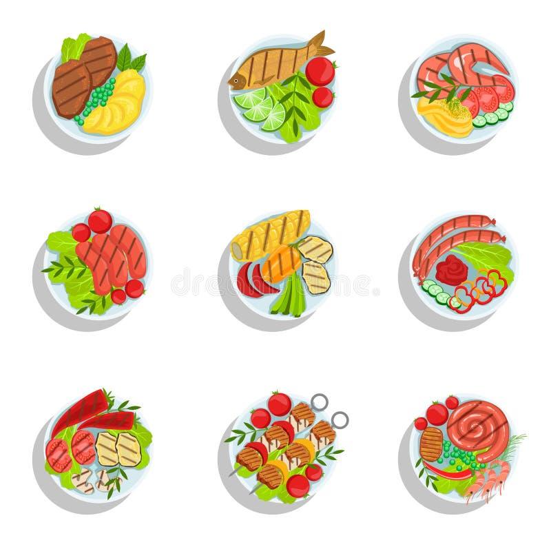 Den Oktoberfest galleruppsättningen av mat pläterar illustrationer från över royaltyfri illustrationer