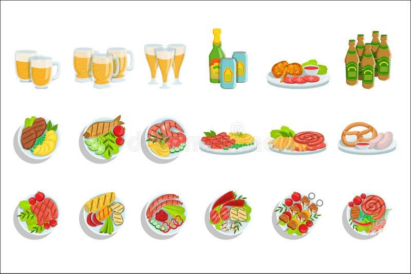 Den Oktoberfest gallerupps?ttningen av mat pl?terar illustrationer fr?n ?ver royaltyfri illustrationer