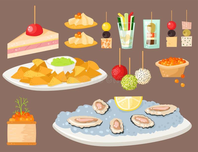 Den olik fisken och ost för aptitretare för köttcanapemellanmål ger en bankett för mellanmål på uppläggningsfatvektorillustration stock illustrationer