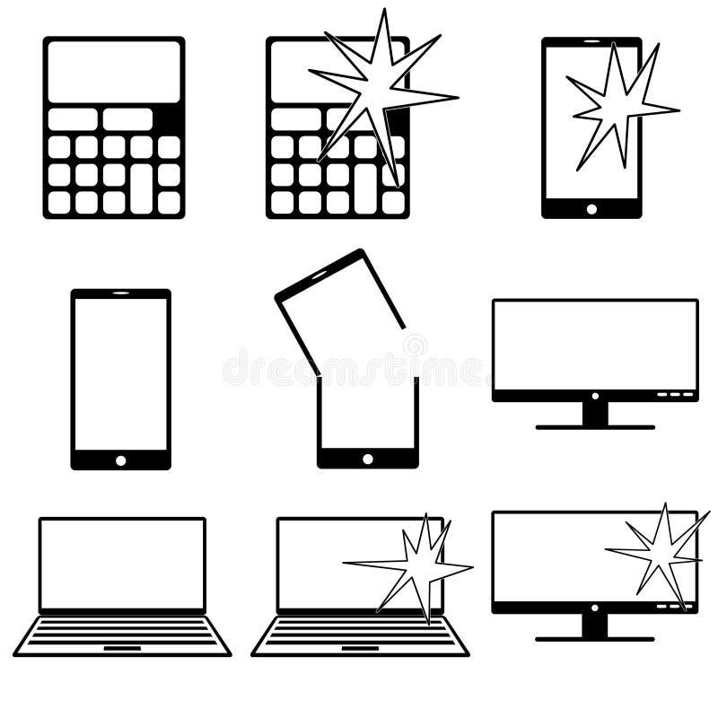 Den olika datoren gällde symboler med det normala och brutna tillståndet vektor illustrationer