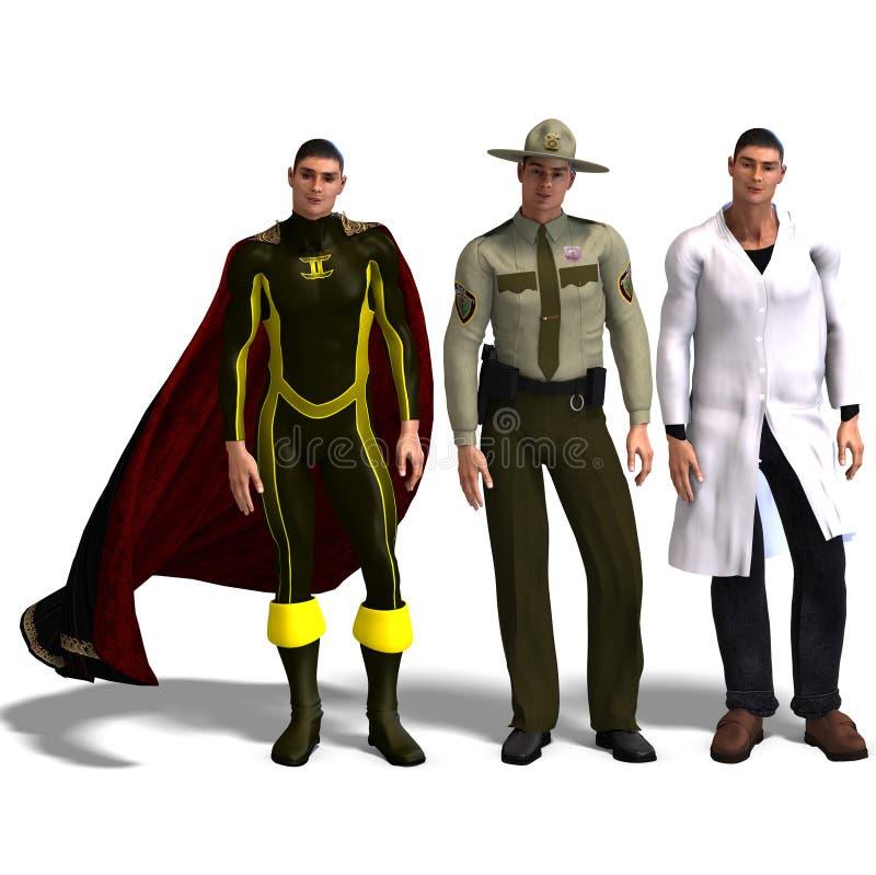 den olika doc-hjälten utrustar polis tre royaltyfri illustrationer