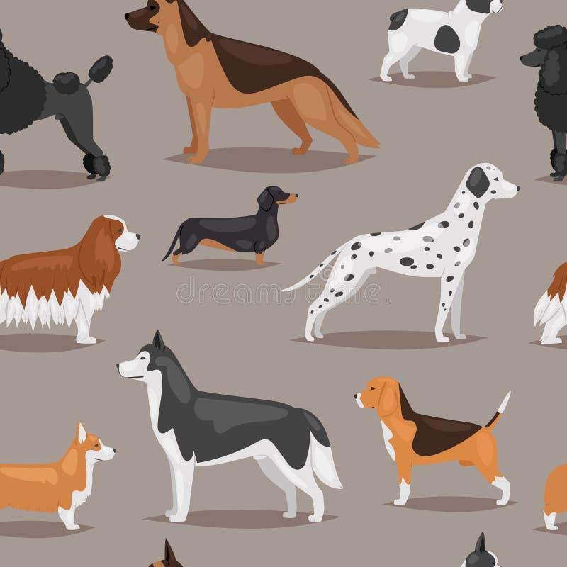 Den olika hundkapplöpningen föder upp bakgrund för modellen för gulliga tecken för gröngölingvalpvalp sömlös royaltyfri illustrationer