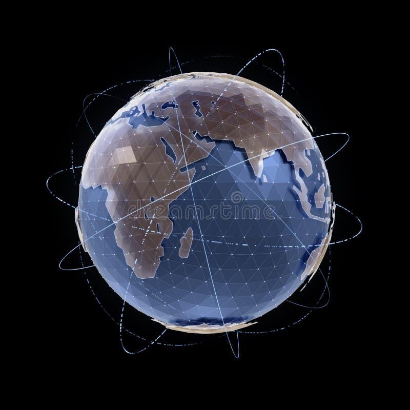 den olika jordklotillustrationvektorn visar världen royaltyfri illustrationer