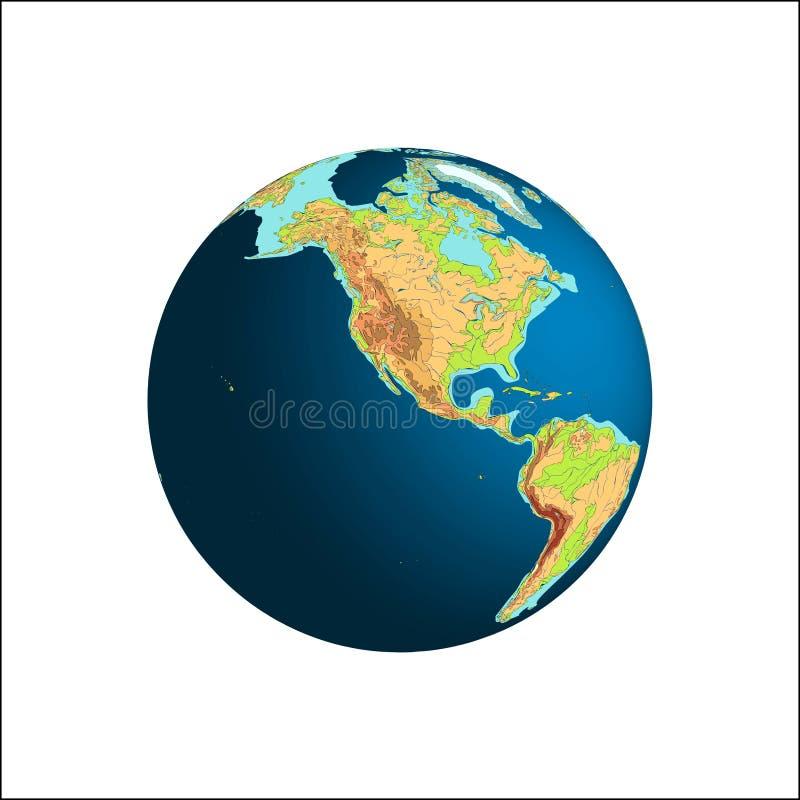 den olika jordklotillustrationvektorn visar världen stjärnor för planet för bakgrundsjord fulla Nordamerika och Sydamerika royaltyfri illustrationer