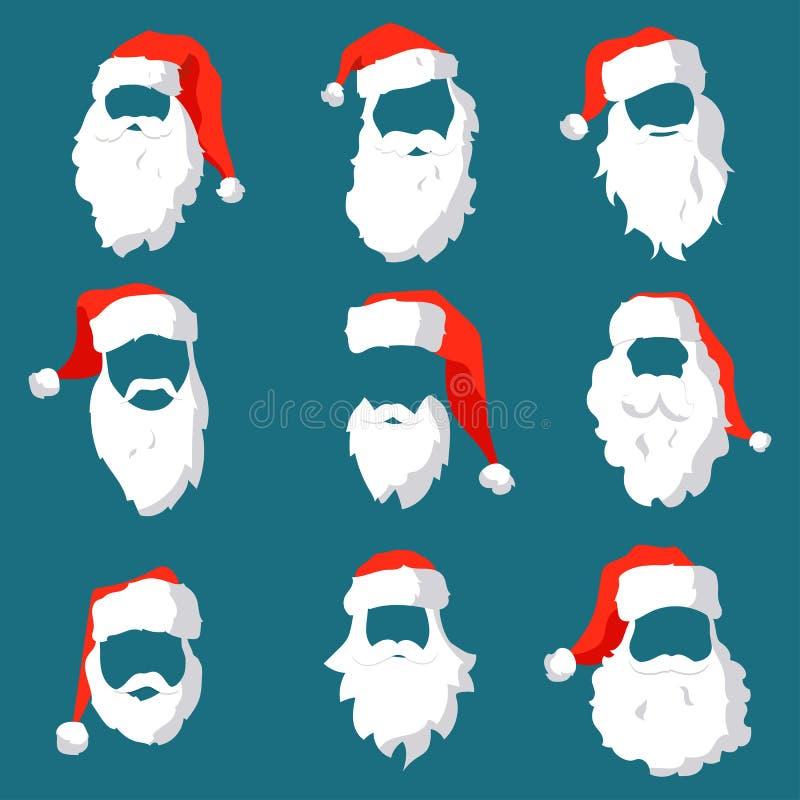 Den olika jultomtenhattar, mustaschen och skäggmallen ställde in Jul vänder mot beståndsdelar för förbi din festliga design vekto vektor illustrationer