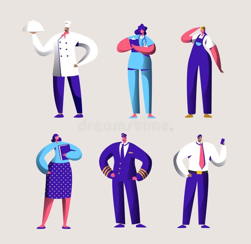 Den olika karriärarbetaren ställde in för feriebaner för arbets- dag Folket grupperar i olik likformig Kock, pilot och doktor Wor stock illustrationer