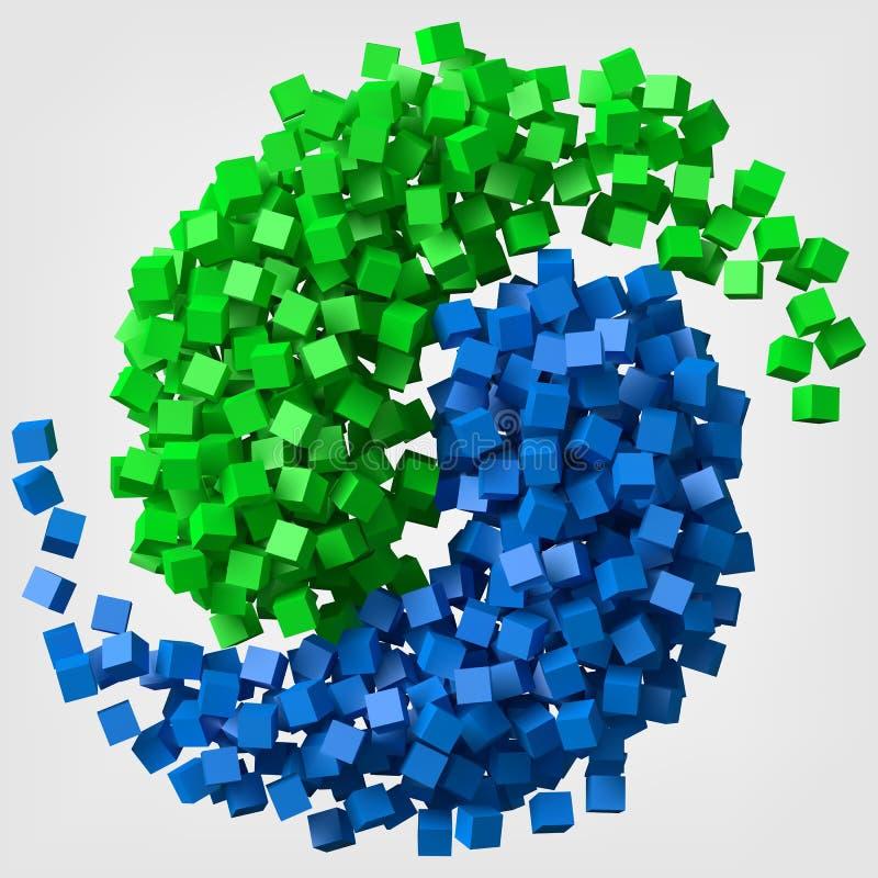 Den olika kulöra kuben skuggar att rotera som ying och det yang symbolet vektorillustration för stil 3d stock illustrationer