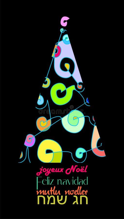 Den olika och färgrika julkortet som dekoreras med det abstrakta Xmas-trädet i flera språk, svärtar FRANSKA vektor illustrationer