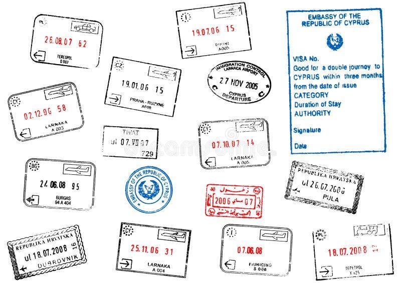den olika passseten stämplar visa royaltyfri illustrationer