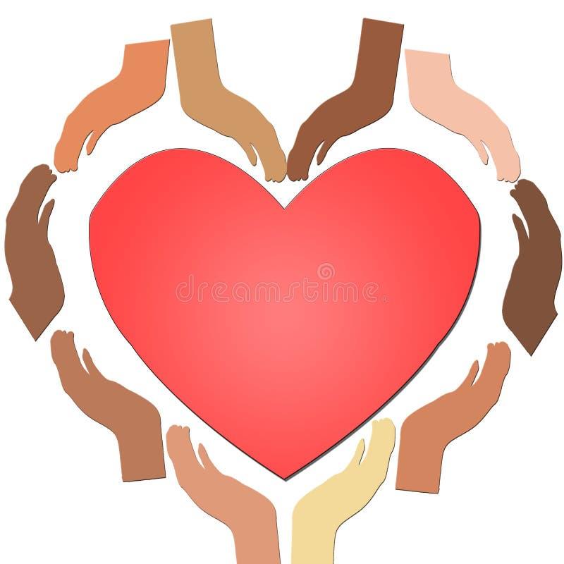 Den olika person som tillhör en etnisk minoritet räcker tillsammans att bilda en hjärta med röd hjärta i mitten, begreppet av enh royaltyfri illustrationer