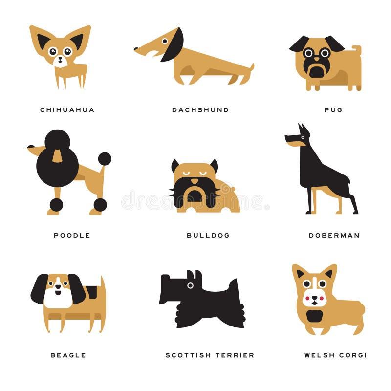 Den olika uppsättningen för hundkapplöpningaveltecken av vektorillustrationer och bokstäver föder upp på engelska vektor illustrationer