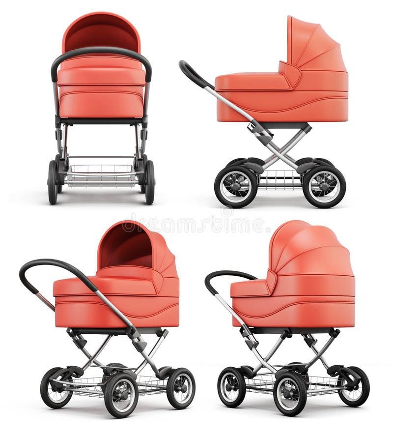 Den olika vinkeln behandla som ett barn sittvagnen på vit bakgrund 3D r vektor illustrationer