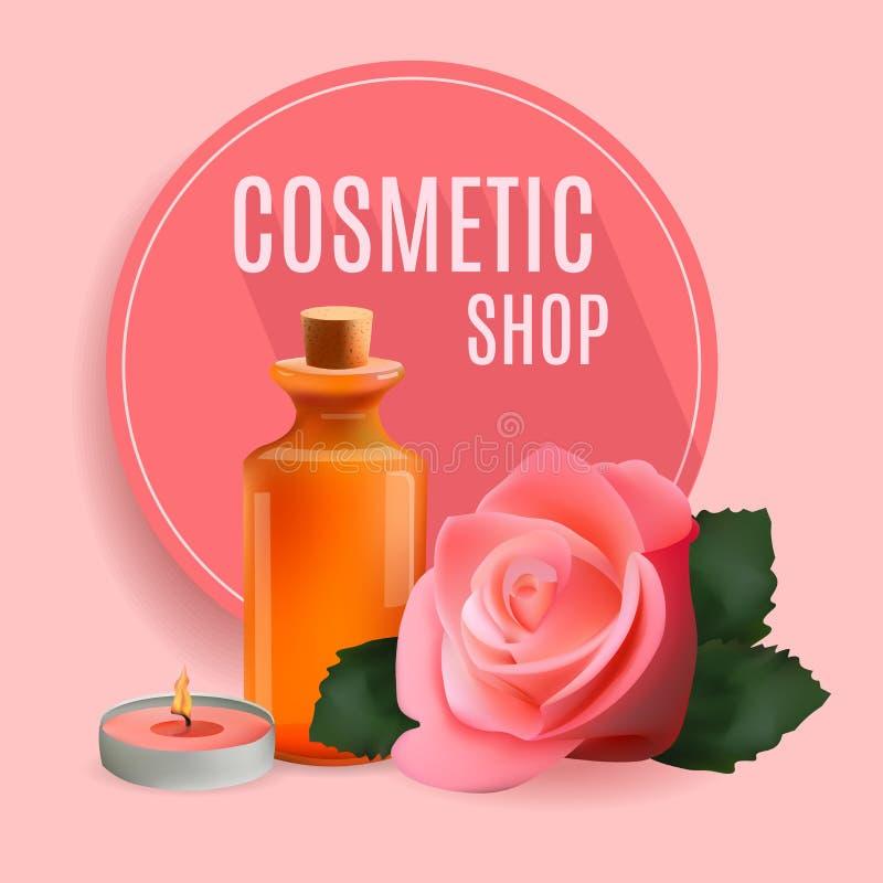 Den olje- kosmetiska flaskan med stearinljuset och steg Mallskönhetsmedlet shoppar, den Spa salongen, skönhetsproduktpacken, medi stock illustrationer