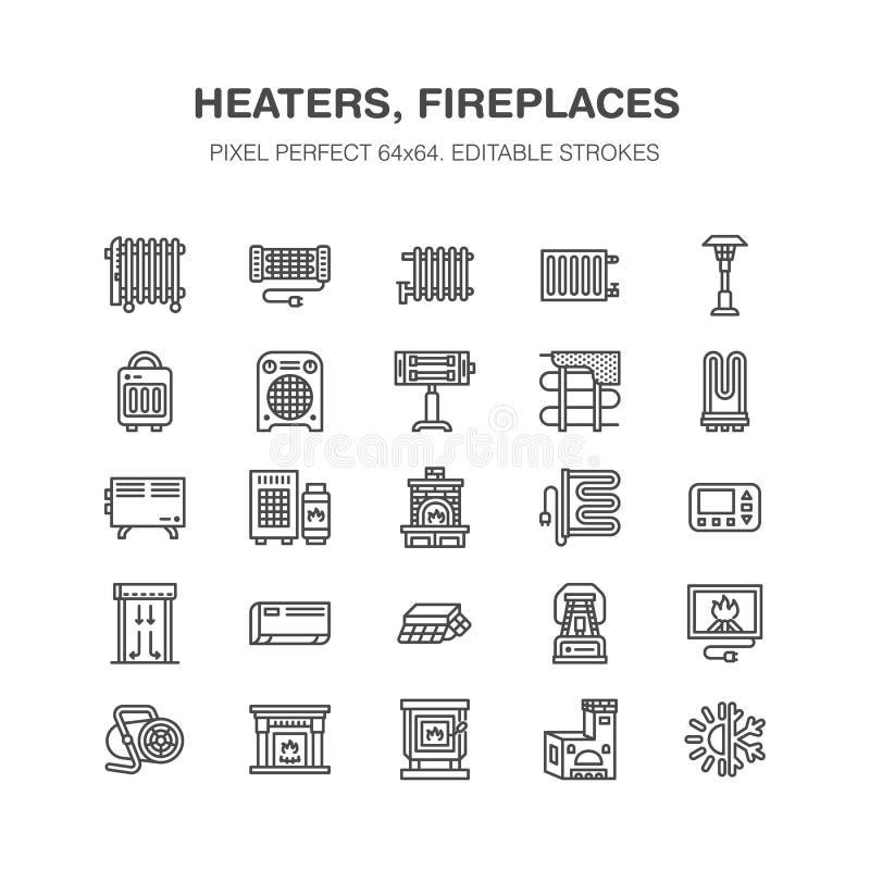 Den olje- värmeapparaten, spisen, konvektorn, panelkolonnelementet och andra husuppvärmninganordningar fodrar symboler Hem- värme royaltyfri illustrationer