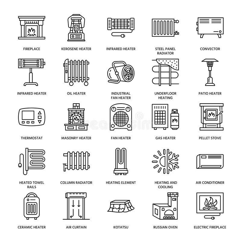 Den olje- värmeapparaten, spisen, konvektorn, panelkolonnelementet och andra husuppvärmninganordningar fodrar symboler Hem- värme stock illustrationer