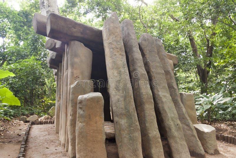 Den Olmec jordfästningen, Olmec det arkeologiska museet, La Venta parkerar museet Villahermosa tabasco, Mexico royaltyfri foto