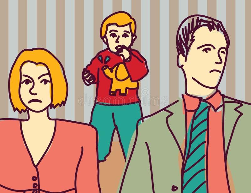 Den olyckliga familjen grälar det ledsna barnet för förälderskilsmässapar stock illustrationer