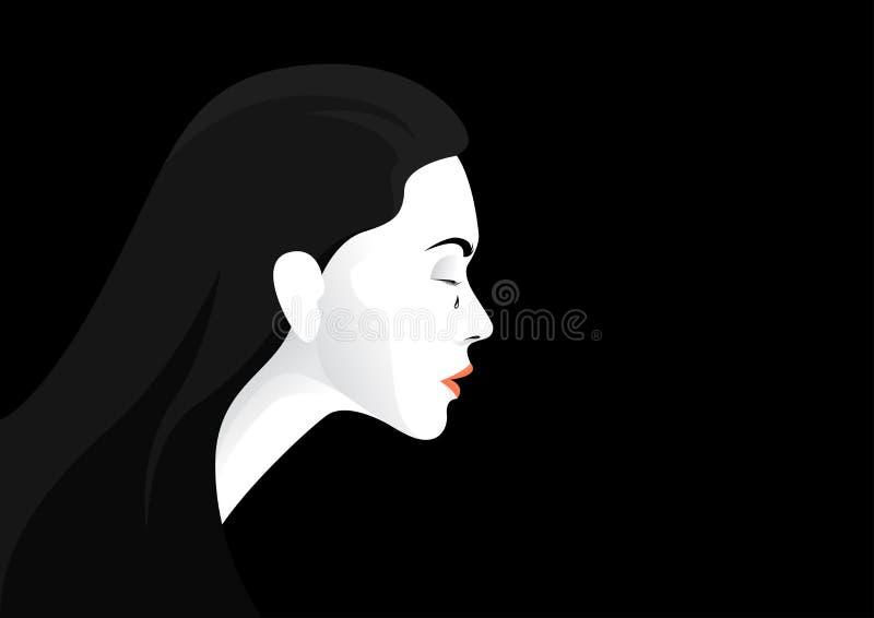Den olyckliga kvinnan gråter vektorillustrationen stock illustrationer